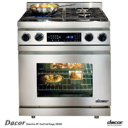 """Dacor DR30DINGH 30"""" Distinctive Series Slide-in Gas Range with Sealed Burner Cooktop, 3.9 cu. ft. Primary Oven Capacity, in Stainless Steel"""