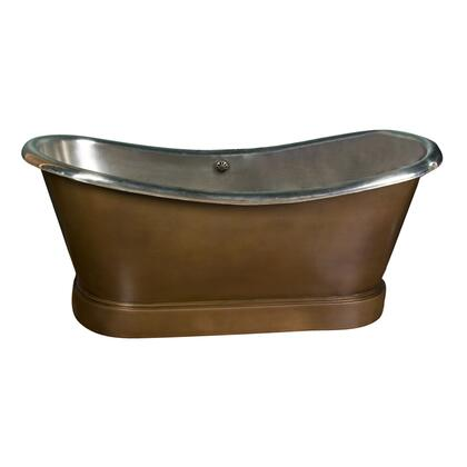 """66"""" Double Slipper Copper Tub in Antique Copper Nickel Interior"""