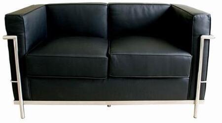 Wholesale Interiors 610LOVESEATBLACK Le Corbusier Series  Loveseat