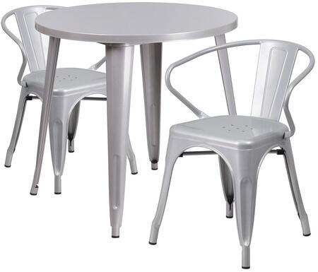 Flash Furniture CH51090TH218ARMSILGG Round Shape Patio Sets