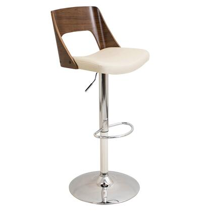 "LumiSource Valencia BS-VLNCI WL 37"" - 42"" Barstool with 360 Degree Swivel, Adjustable Height and Chrome Base in"
