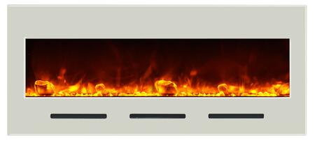 Amantii BI50FLUSHMTWHTGLS Wall Mountable Electric Fireplace