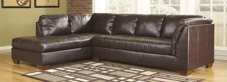 Sectional Sofa with RAF Sofa and LAF Corner Chaise in Mahogany
