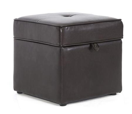 Wholesale Interiors XB01DARKBROWN Sydney Series Contemporary Faux Leather Ottoman