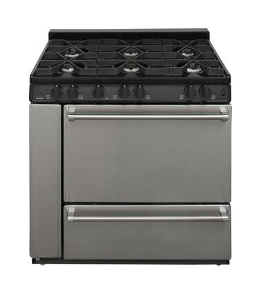 "Premier P36S3 36"" Pro Series Range with 6 Sealed Burners, Storage Compartment, Separate Broiler Compartment, Griddle, Solid Door, Two Oven Racks and Interior Oven Light: Stainless Steel"