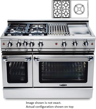 "Capital GCR484WN 48"" PRECISION Series Gas Freestanding Range with Sealed Burner Cooktop, 4.6 cu. ft. Primary Oven Capacity, in Stainless Steel"