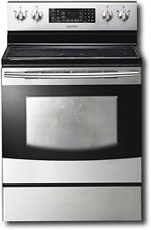 "Samsung Appliance FTQ353IWUX 30"" Electric Freestanding Range with Smoothtop Cooktop, 5.9 cu. ft. Primary Oven Capacity, Warming in Stainless Steel"