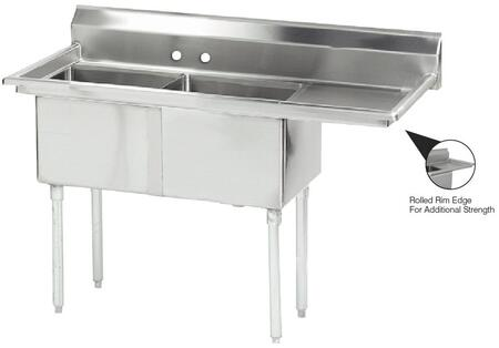Two Compartment Sink with Right Side Drainboard