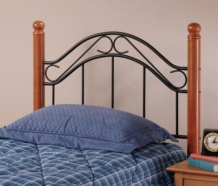 Hillsdale Furniture 164HR Winsloh Open-Frame Headboard with Rails Included, Rounded Finials, Black Metal Panels and Hardwood Posts in Medium Oak Finish