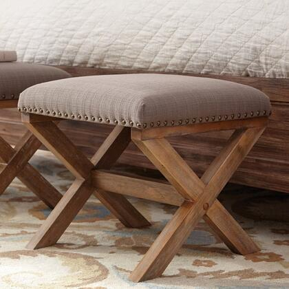 Donny Osmond Home 500319 Madeleine Series Transitional Fabric Wood Frame Ottoman