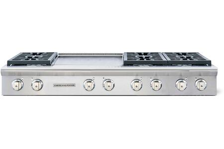 "American Range Legend Series ARSCT-6062GD 60"" Sealed Burner Gas Rangetop With 6 Sealed Burners, 22"" Griddle, Fail-Safe System, Electronic Ignition, Pro-Style, Slide-In, In Stainless Steel"
