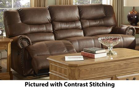 "New Classic Home Furnishings 20-395-30-MO Laredo 90"" Dual Recliner Sofa with Stitching, Pull Down Storage, Cupholders, 100% Polyester Fabric, Nailhead Trim and Sinuous Spring Support, in Mocha"