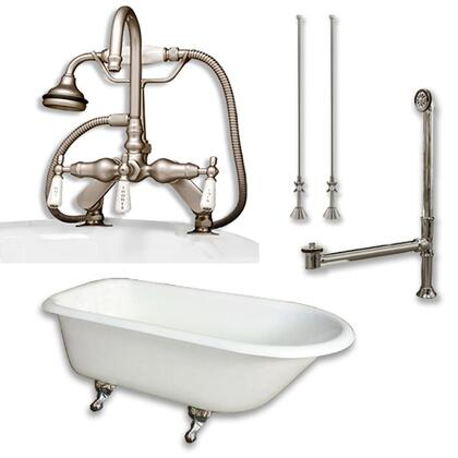 """Cambridge RR55684DPKGXX7DH Cast Iron Rolled Rim Clawfoot Tub 55"""" x 30"""" with 7"""" Deck Mount Faucet Drillings and English Telephone Style Faucet Complete Plumbing Package"""