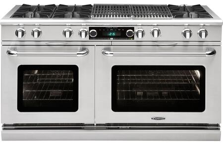 """Capital Culinarian Series COB604BB2-X 60"""" Freestanding Dual Fuel Electric Range with 8 Open Burners, Primary 4.6 Cu. Ft. Oven Cavity, Secondary 3.1 Cu. Ft. Oven Cavity, and Moto-Rotis, in Stainless Steel"""