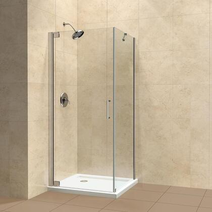 "DreamLine SHEN-41 Elegance 30"" by 30"" Frameless Pivot Shower Enclosure, Clear 3/8"" Glass Shower, Chrome Finish"