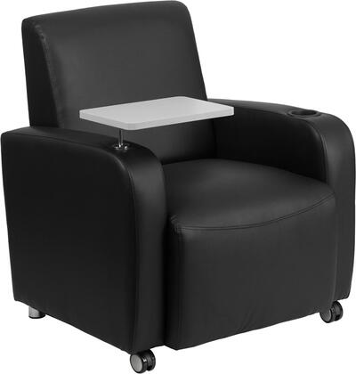 Flash Furniture BT8217CSGG Leather Guest Chair with Tablet Arm, Front Wheel Casters and Cup Holder