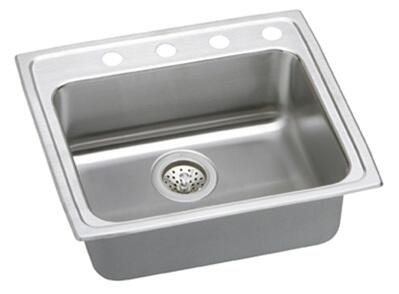 "Elkay LRAD252165L Gourmet Lustertone Stainless Steel 25"" x 21-1/4"" Single Basin Top Mount Kitchen Sink with 6-1/2"" Depth and Off-Centered Left Drain Opening:"