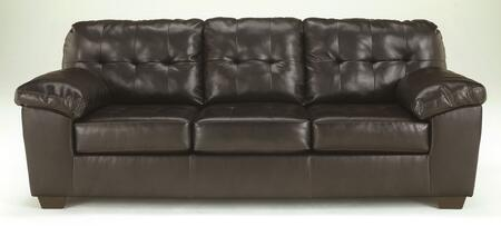 Signature Design by Ashley 2010X38 Alliston DuraBlend Sofa with Pillow Padded Arms, Button Tufted Back Cushion and Tapered Block feet in