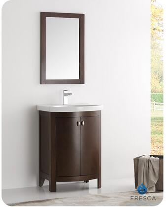 "Fresca Greenwich Collection FVN2301XX-CMB 25"" Traditional Bathroom Vanity with 2 Soft Closing Doors, Satin Nickel Handles and Integrated Ceramic Countertop and Sink in"