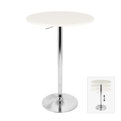 "LumiSource Elia BT-TLELIA27 27"" Bar Table with Adjustable Height, Wooden Top and Chrome Base in"