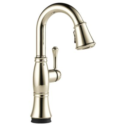 Cassidy  9997T-PN-DST Delta Cassidy: Single Handle Pull-Down Bar / Prep Faucet with Touch2O Technology in Polished Nickel