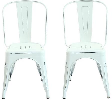 EdgeMod EM112DISWHIX2 Trattoria Series Modern Metal Frame Dining Room Chair