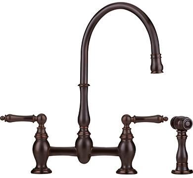 Franke FF-60 Farm House Series Two-Handle Bridge Faucet with Arc Spout, Traditional Handles and Side Spray in