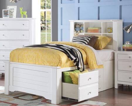 Acme Furniture Mallowsea Bed with Storage Rail Drawers, 6 Compartment Bookcase Headboard, Low Profile Footboard and Pine Wood Construction in White Finish