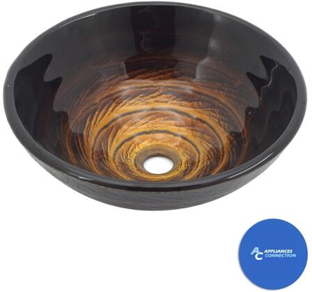 """Kraus CGV69319MM1005 Multicolor Series 17"""" Iris Round Vessel Sink with 19-mm Tempered Glass Construction, Easy-to-Clean Polished Sruface, and Included Riviera Faucet"""
