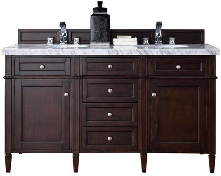 "James Martin Brittany Collection 650-V60D-BNM- 60"" Burnished Mahogany Double Vanity with Six Drawers, Two Doors, Tapered Legs, Satin Nickel Hardware and"