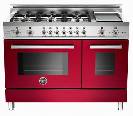 "Bertazzoni PRO486GDFSVI 48"" Professional Series Dual Fuel Freestanding Range with Sealed Burner Cooktop, 3.4 cu. ft. Primary Oven Capacity, in Burgundy"