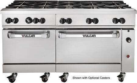 "Vulcan 60SS-10B 60"" Endurance Restaurant Range with 10 Open Top Burners, 2 Standard ovens, 358,000 Total BTU, 30,000 Burner BTU and 4 Oven Racks in Stainless Steel"