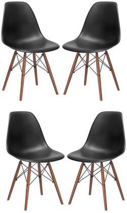 EdgeMod EM105WALBLKX4 Vortex Series Modern Wood Frame Dining Room Chair