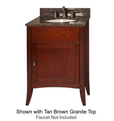 """Kaco Metro Collection 385-2400 24"""" Sink Vanity with Flared Legs, 1 Door, Brushed Nickel Hardware and Water Resistant Brown Cherry Finish with Granite Top"""