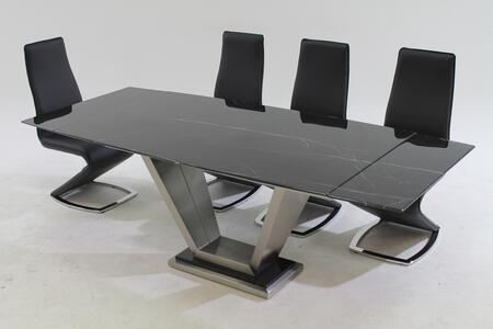 "Chintaly JESSYTARA JESSY DINING Jessy/Tara 5Pc - Black Marquis Solid Marble Dining Table with 4 ""Z"" Style Side Chairs"