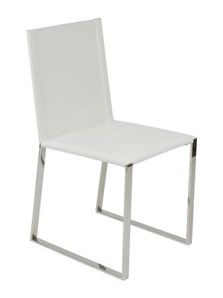 Euro Style 04964WHT Cora Series Leather Dining Room Chair