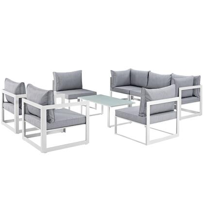 Modway Fortuna Collection EEI-1725- 8-Piece Patio Sectional Sofa Set with 2 Corner Sofa, 5 Armless Chairs and Coffee Table in