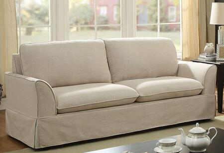 Furniture of America Maxine I CM6378XX-SF Sofa with Piped Stitching, Solid Wood Frame and Linen-Life Fabric Upholstery in