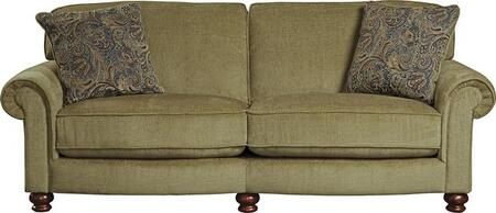 "Jackson Furniture Downing Collection 4384-03- 92"" Sofa with Rolled Arms, Turned Bun Feet and Reversible Seat Cushions in"