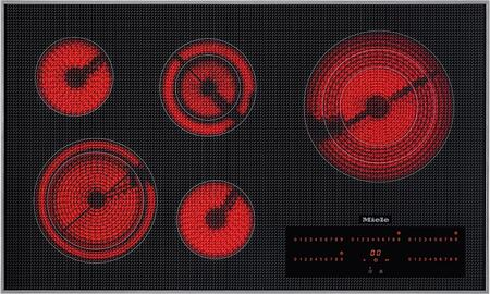 "Miele KM5860 36"" Electric Cooktop with 3D Glass Design, Easy-To-Use Touch Controls, 5 Cooking Zones, Black Ceran Glass Surface, Safety Switch Off and Front Control Panel:"