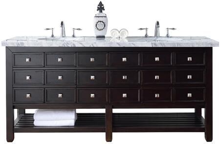 "James Martin Vancouver Collection 505-V72-CEO- 72"" Cerused Espresso Oak Double Vanity with Seven Drawers, Bottom Shelf, Satin Nickel Hardware and"