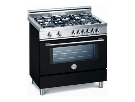 Bertazzoni X365PIRNE Professional Series Dual Fuel Freestanding Range with Sealed Burner Cooktop, 4 cu. ft. Primary Oven Capacity, Storage in Black