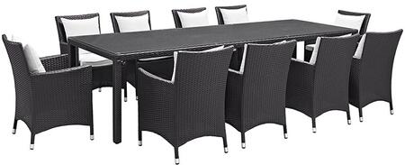 Modway Convene Collection 11 PC Outdoor Patio Sectional Set with Powder Coated Aluminum Frame, Washable Cushion Covers and Synthetic Rattan Weave Material in Espresso Color