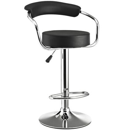 """Modway EEI-192 24.5"""" Diner Bar Stool with Modern Design, Genuine Leather Upholstery, Steel Frame, 3.5"""" Inch Cushion, 360 Degree Swivel, and Adjustable Height"""