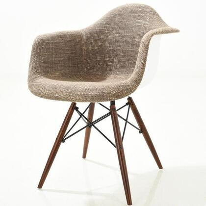 """EdgeMod Vortex Collection 31"""" Accent Arm Chair with Padded Arms, Hand Stitched Weave, Walnut Finished Legs and Poly-Cotton Fabric Upholstery in"""