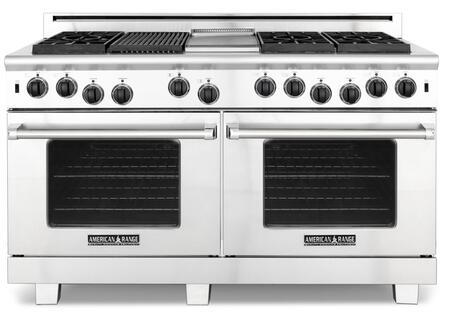 "American Range ARR6062GRISS 60"" Heritage Classic Series Gas Freestanding Range with Sealed Burner Cooktop, 4.8 cu. ft. Primary Oven Capacity, in Stainless Steel"