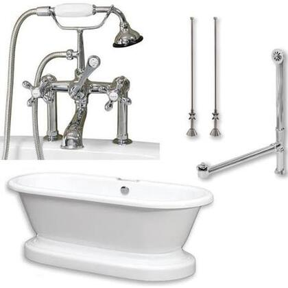 "Cambridge ADEP463D6PKG Acrylic Double Ended Pedestal Bathtub 70"" x 30"" with 7"" Faucet Drillings and Complete Plumbing Package"