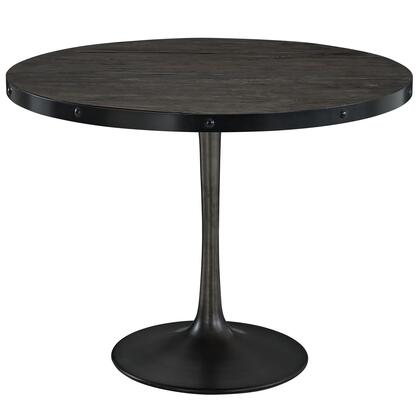 Modway EEI-1197 Drive Wood Top Dining Table with Pine Wood Top, Iron Rim, Cast Iron Pedestal Base, and Four Legs
