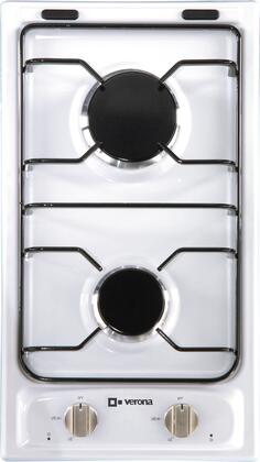 """Verona VECTG212FD 12"""" Sealed Burner Gas Cooktop With 2 Sealed Burners, Electronic Ignition, LP Conversion Kit Included, Porcelain Grates & Caps, In"""