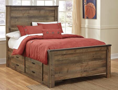 Signature Design by Ashley Trinell B446PANELS Panel Bed with 2 Underbed Storage Drawers, Metal Bracket Accents, Plank Detailing and Replicated Oak Grain in Brown